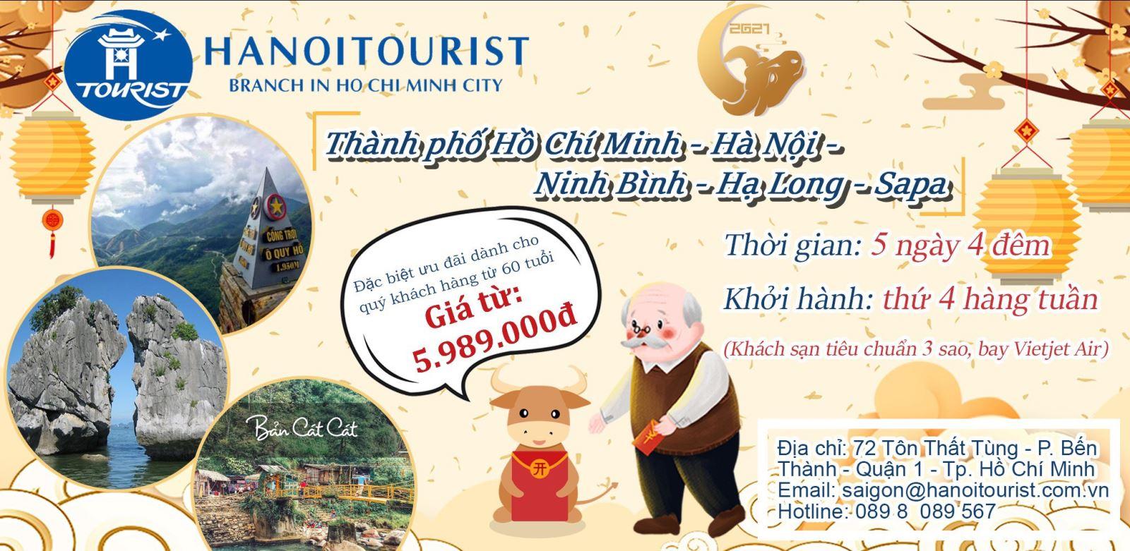 Tour Du Xuân:  Sài Gòn- Hà Nội - Lào Cai- Sapa - Ninh Bình - Hạ Long ( 5N)